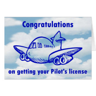 Pilots license. Getting your wings. Congratulation Card