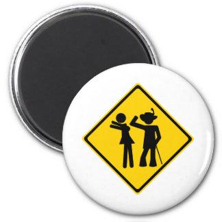 Pimp Backhand Road Sign 6 Cm Round Magnet