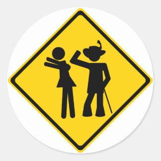 Pimp Backhand Road Sign Classic Round Sticker