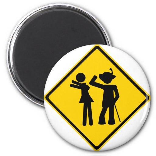 Pimp Backhand Road Sign Magnet