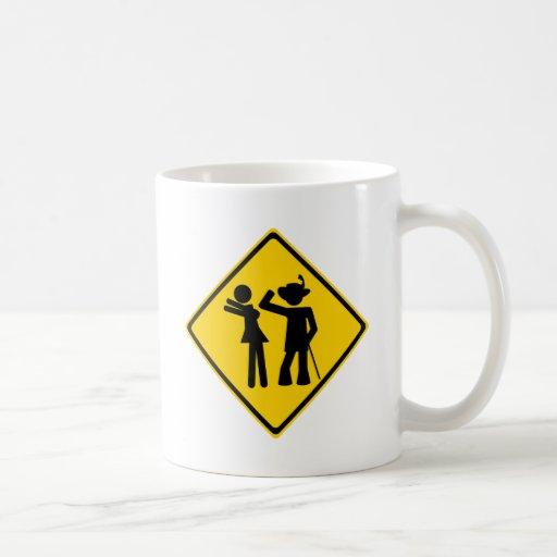 Pimp Backhand Road Sign Mugs