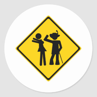 Pimp Backhand Road Sign Round Stickers