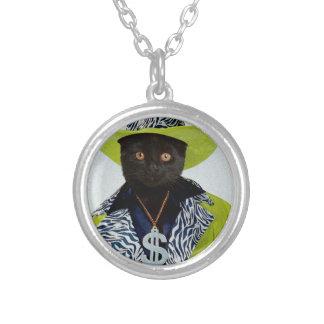 Pimp Cat Round Pendant Necklace