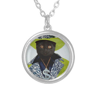 Pimp Cat Silver Plated Necklace