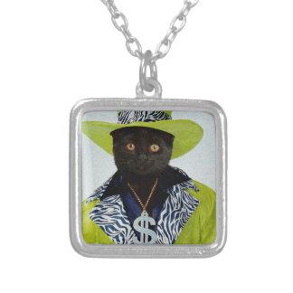 Pimp Cat Square Pendant Necklace