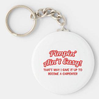 Pimpin' Ain't Easy .. Carpenter Basic Round Button Key Ring
