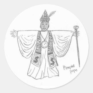 Pimpin' Pope Round Sticker