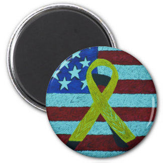 PIN A YELLOW RIBBON 6 CM ROUND MAGNET