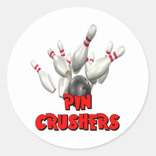 Pin Crushers Bowling Round Stickers