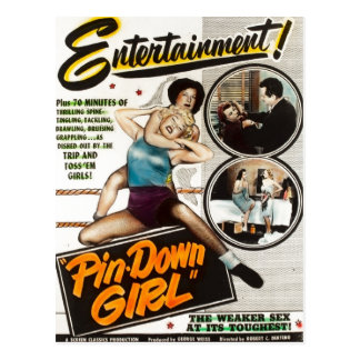Pin Down Girl Vintage Lady Wrestlers Movie Poster Postcard