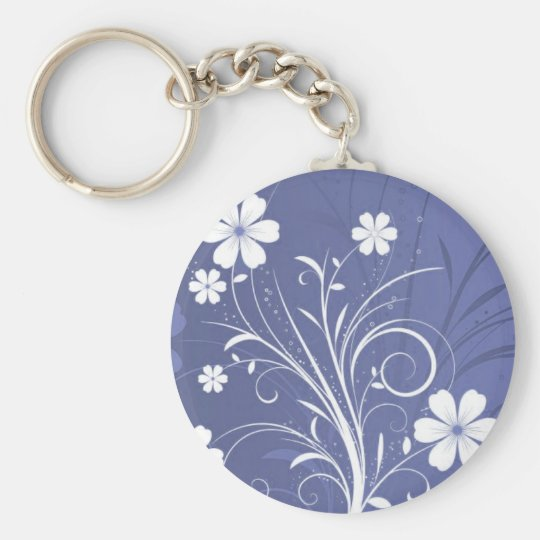 Pin Flowers 3 Basic Round Button Key Ring