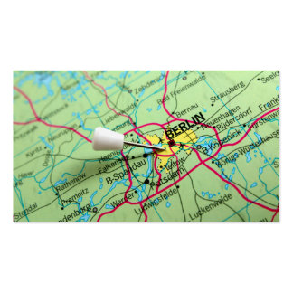 Pin placed on map in Berlin, Germany Business Cards