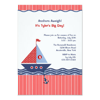 Pin Stripe Nautical Juvenile Birthday Invitation