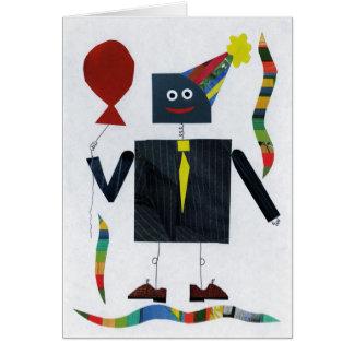 Pin-Striped Robot Greeting Card