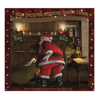 Pin The Pup On Santa Christmas Party Game Poster