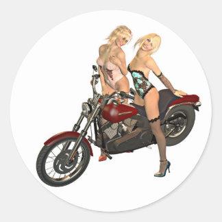 Pin-up biker girls round sticker