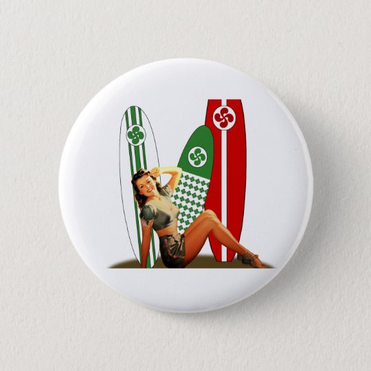 Pin-up girl Basque France 6 Cm Round Badge