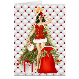 Pin Up Girl Christmas Card