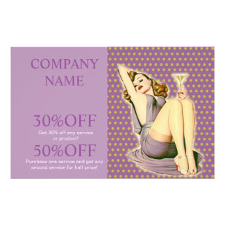 pin up girl  fashion salon SPA vintage beauty 14 Cm X 21.5 Cm Flyer