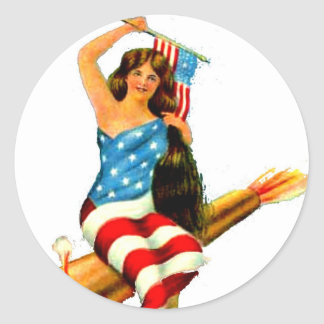 Pin Up Girl in Flag July 4th Vintage Postcard Art Round Sticker