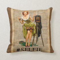 Pin Up Girl Making #selfie Vintage Dictionary Art Cushion