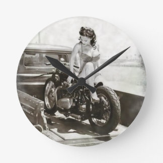 PIN UP GIRL ON MOTORCYCLE. ROUND CLOCK