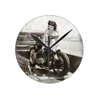 PIN UP GIRL ON MOTORCYCLE. WALLCLOCKS