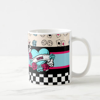 Pin-up Girl, Rock-A-Billy Basic White Mug
