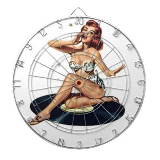 Pin Up Girl sitting on Record Dartboard