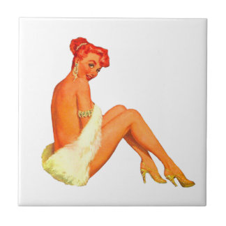 Pin Up Girl Small Square Tile