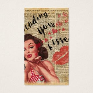 Pin-up Girl Vintage Art Sending Kisses With Love