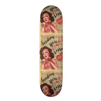Pin-up Girl Vintage Art Sending Kisses With Love Custom Skate Board
