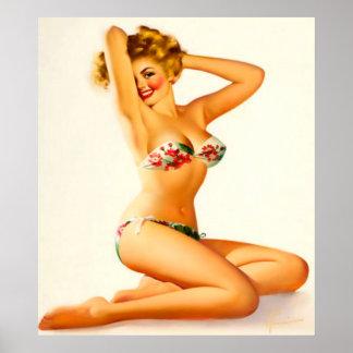 Pin up girl wearing bikini poster