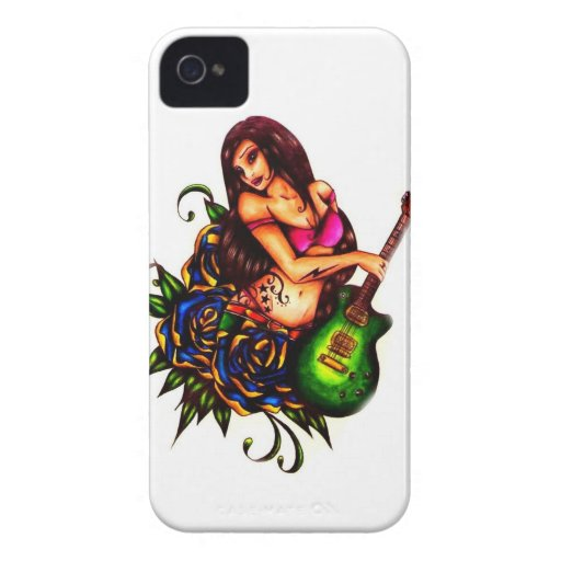 Pin up Girl with Guitar Blackberry Bold Covers