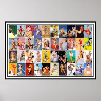 Pin up Girls Art Vintage Retro Print Collage