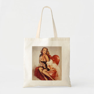 Pin-Up in a Heart-Shaped Chair Tote Budget Tote Bag
