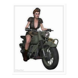 Pin Up Postcard - Military Girl ~ Dispatch Rider