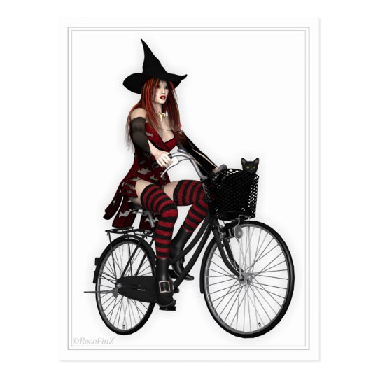 Pin Up Postcard - Pretty Witch ~ Pushbike