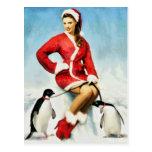 Pin-up Santa painting Post Card