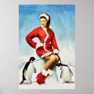 Pin-up Santa painting Poster