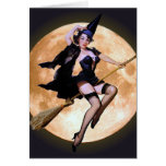 Pin-Up Witch Against a Harvest Moon Greeting Card