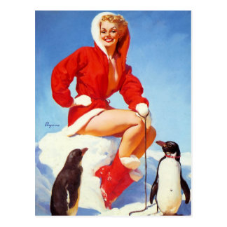 Pin-Up with Penguins Postcard
