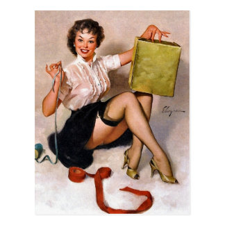 Pin-Up Wrapping Present Postcard