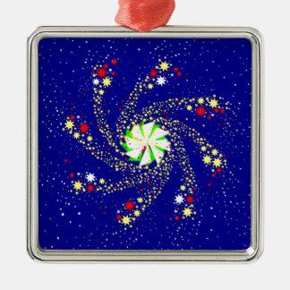 Pin Wheel Silver-Colored Square Decoration