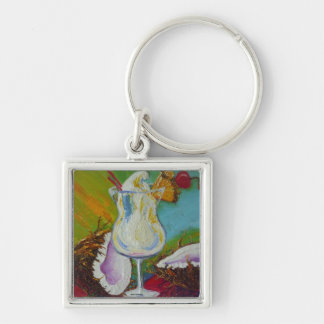 Piña Colada and Coconut by Paris Wyatt Llanso Silver-Colored Square Key Ring