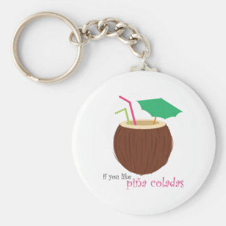 Pina Colada Basic Round Button Key Ring