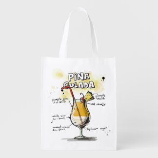 Pina Colada Drink Recipe Design Reusable Grocery Bag