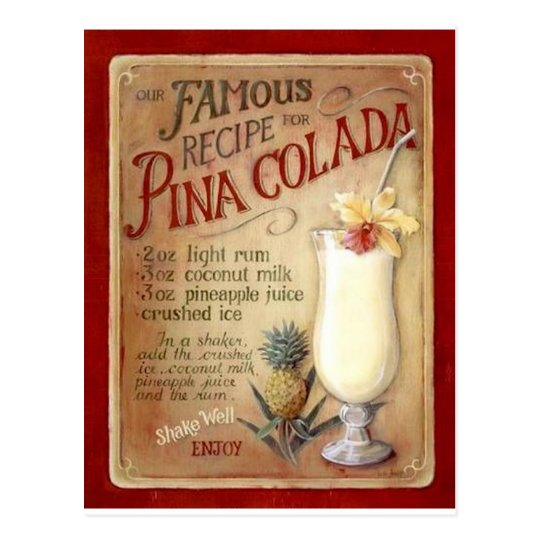 Pina colada recipe postcard