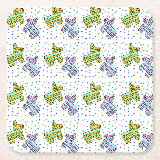 Piñata and Confetti Square Paper Coaster