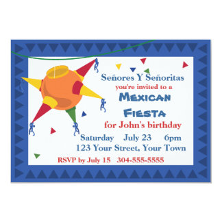 Pinata Mexican Fiesta Party 13 Cm X 18 Cm Invitation Card